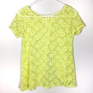 Francesca's Lace Split Back Top Yellow